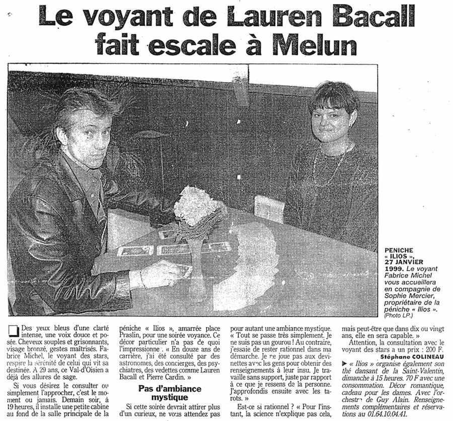 Article du Parisien : 'Le voyant de Lauren Bacall fait escale à Melun'