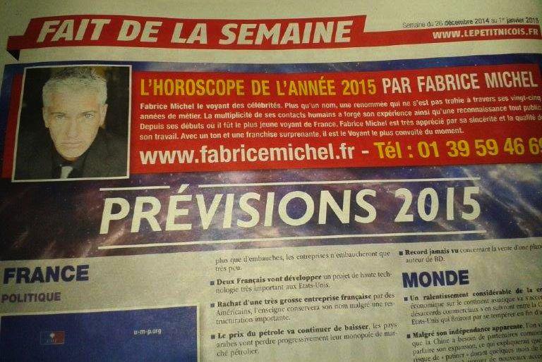 Les prévisions 2015 de Fabrice Michel dans Le Petit Niçois