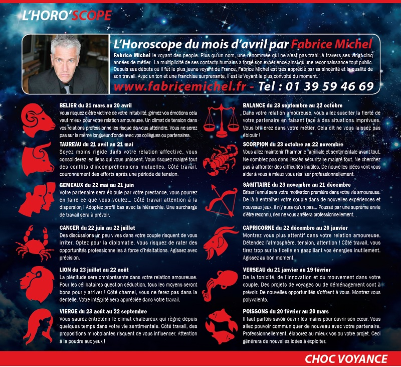 Horoscope dans le magazine Choc (Avril 2014)