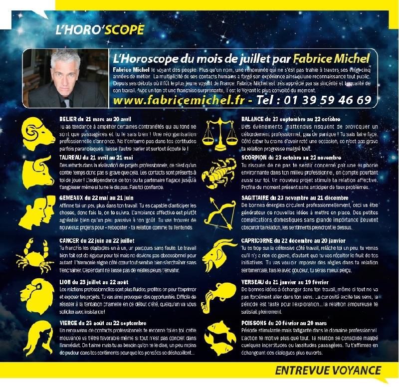 Horoscope dans le magazine Entrevue (Juillet 2014)